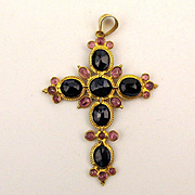 Jeweled 18K Gold Cross Pendant w/ Genuine Gem Stones
