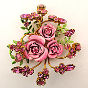 Original by Robert Enamel Rhinesone ROSES Pin Brooch