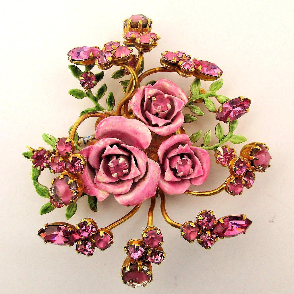 Original by Robert Enamel Rhinesone ROSES Pin Brooch