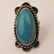 Old Navajo Turquoise Sterling Silver Ring - Long Oval