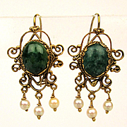 Estate 14K Gold Filigree Jade Earrings w/ Pearl Dangles Jadeite