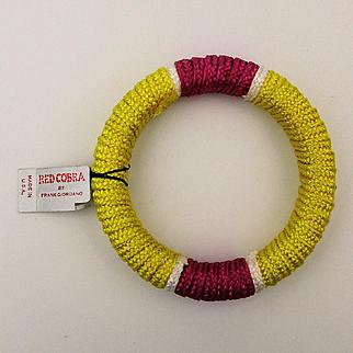 1970s Red Cobra Corded Bangle Bracelet Frank Giordano w/ Org. Tag
