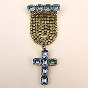 Dazzling Christian Pin - Rhinestones w/ Blue Crystal Cross