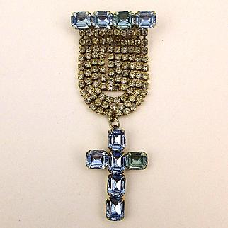 Dazzling Christian Pin - Rhinestones w/ Blue Crystal Cross