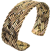 Old Heavy Sterling Silver Cuff Bracelet Braided Weave