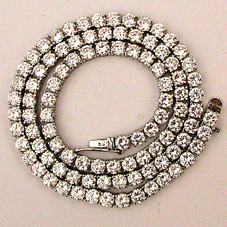 Sterling Silver Faux Diamond Crystal Rhinestone Necklace Rope