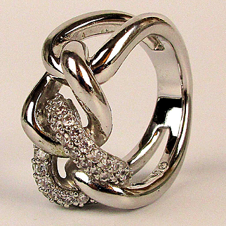 Swarovski Crystal Rhodium Clad Infinity Knot Ring