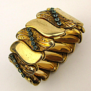 c1920s Signed B & N Gold-Filled Expansion Bracelet Jeweled Wide