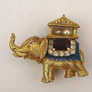 Vintage P.E.P. Erwin Pearl Jeweled Elephant Pin Brooch