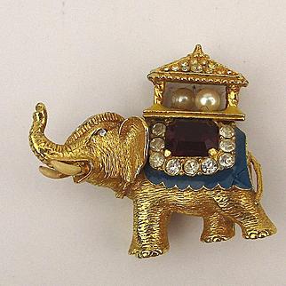 Vintage P.E.P. Erwin Pearl Jeweled Elephant Pin Brooch