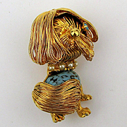 Super Groomed Jeweled Dog Pin w/ Best Combover Ever