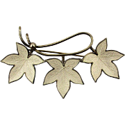 Danish 925 Sterling Silver Guilloche Enamel LEAVES Pin Brooch Signed