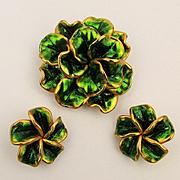 Big Poufy VENDOME Flower Pin Brooch - Earrings Set