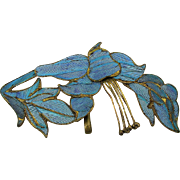 Early 1900s Chinese Kingfisher Feather Pendant On Vermeil Silver
