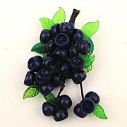 Art Deco Era Celluloid Plastic BLUEBERRIES Pin Blueberry Fruit Dangles