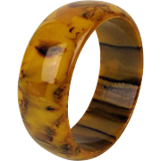 Marbled Bakelite Bangle Bracelet - Mocha Chocolate Caramel
