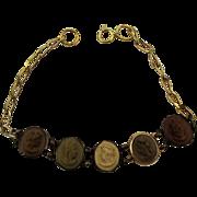 Victorian Lava Cameo Ladies Bracelet - 14K Gold Filled w/ 14K Gold Bezels