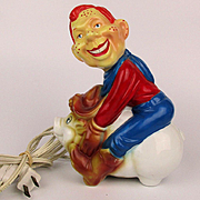 1980s Howdy Doody Rides Pig Ceramic Figural Lamp