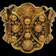 Big Bold Wide Ornate Gilded Bracelet