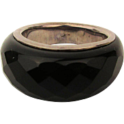 Carved Black Onyx Ring Over Sterling Silver Band