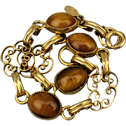 Vintage 12K G.F. Filigree Bracelet w/ Tiger Eye