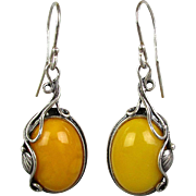 Golden Egg Yolk Amber Stone Earrings Sterling Silver Dangles