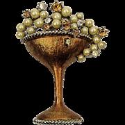 Graziano Rhinestone Pin Champagne Glass of Pearl Bubbles