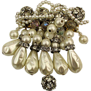Vintage Faux Pearl Cluster Dangle Pin w/ Crystal Rhinestones