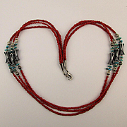 Southwest Bead Necklace - Coral Turquoise Hematite - 3 Strands