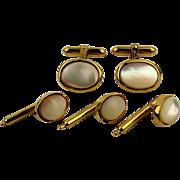 Vintage Christian Dior Mother of Pearl Cufflinks Shirt Studs Set