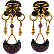 Vintage Lunch at the Ritz Moon Snackazappa Dangle Earrings Orig. Card