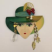 Big Cute Face Pin w/ 4 Inch Brim Hat