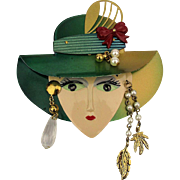 Big Cute Face Pin w/ 4 Inch Brim Hat