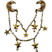 Miriam Haskell Pin Brooch Moon and Stars 2 Pin Chatelaine