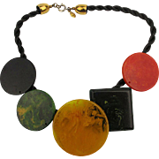 Cadoro Marbled Bakelite Chips Necklace