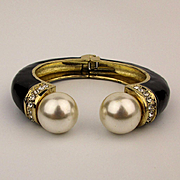 Chunky Enamel Big Faux Pearl Headed Clamper Bracelet