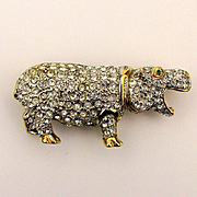 Vintage Carolee Hippopotamus Rhinestone Covered Pin Brooch Hippo