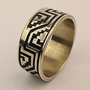 Mexican Sterling Silver Aztec Mayan Step Design Ring