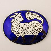 Vintage Siamese Enamel Sterling Silver Pin Pendant Ram