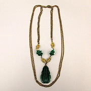 Fabulous Chinese Motif Necklace Faux Jade Glass w/ Gilt Dragons