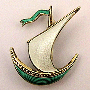 Norwegian Enamel Sterling Silver Sailboat Pin by Ivar Holth