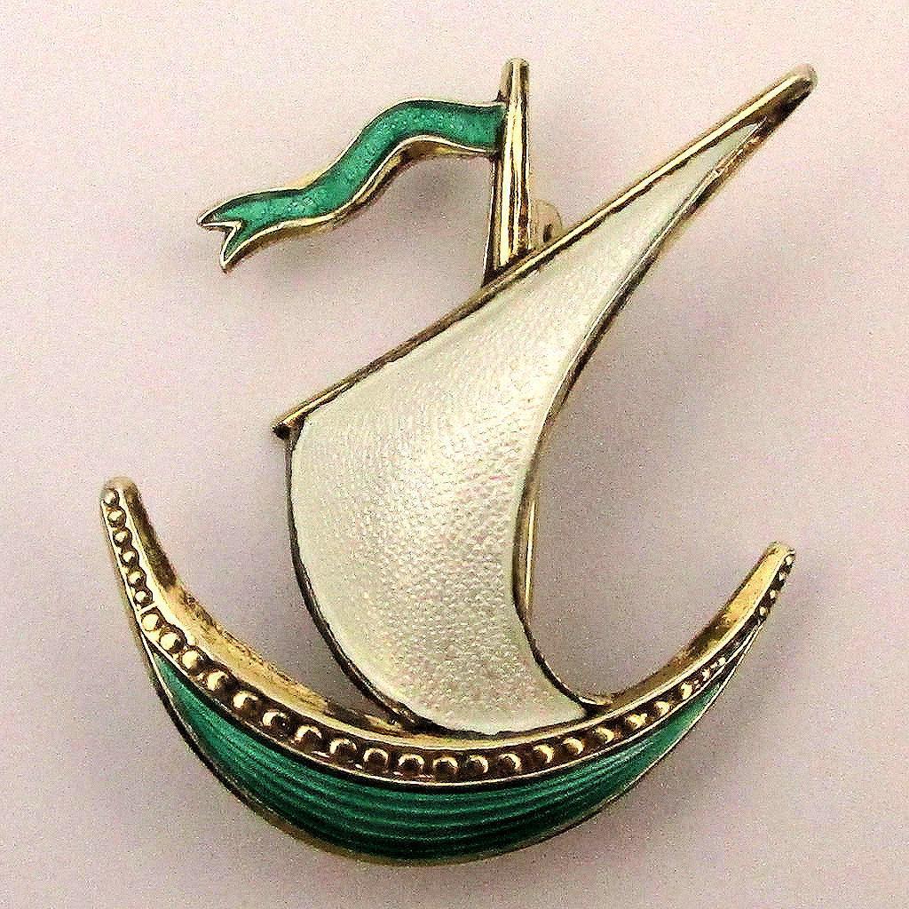 Norwegian Enamel Sterling Silver Sailboat Pin by Ivar Holth