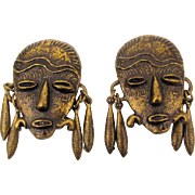 Bold African Face Mask Clip Earrings w/ Dangle Earrings