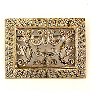 Deco Sterling Silver Marcasite Pin Rhodium Plated Open Floral
