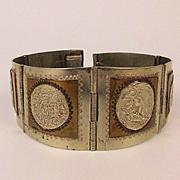 Vintage Taxco 6 Panel Sterling Silver Bracelet