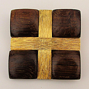 Signed R. Mandle Modernist Pin - Wrapped Teak Wood