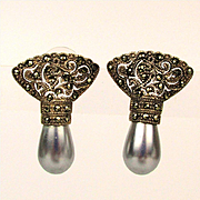 Super Lovely Sterling Marcasite Filigree Faux Pearl Earrings