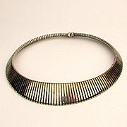 Vintage Italian 925 Sterling Silver Wide Omega Necklace