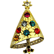 Tipsy Rhinestone Christmas Tree Pin