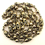 Vintage Taxco Necklace - Bracelet Set Sterling Silver Chunky Lantern Beads
